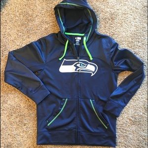 Seattle Seahawks Navy & lime green hooded sweater